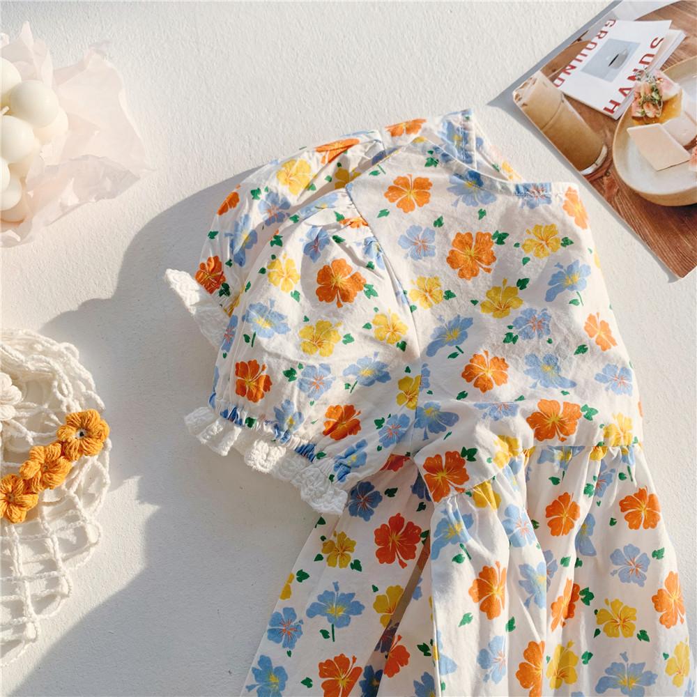 2021 summer girls princess dress summer sweet floral floral skirt Korean dress