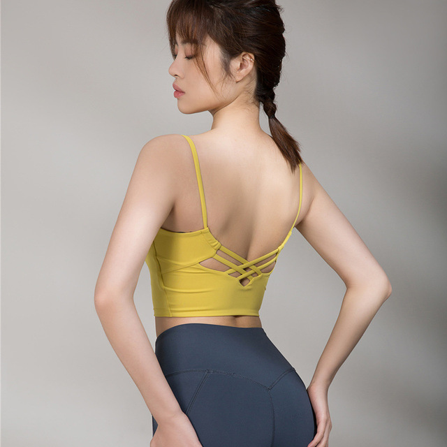 2021 spring and summer new seamless sports bra ladies yoga vest running fitness sling gather beautif