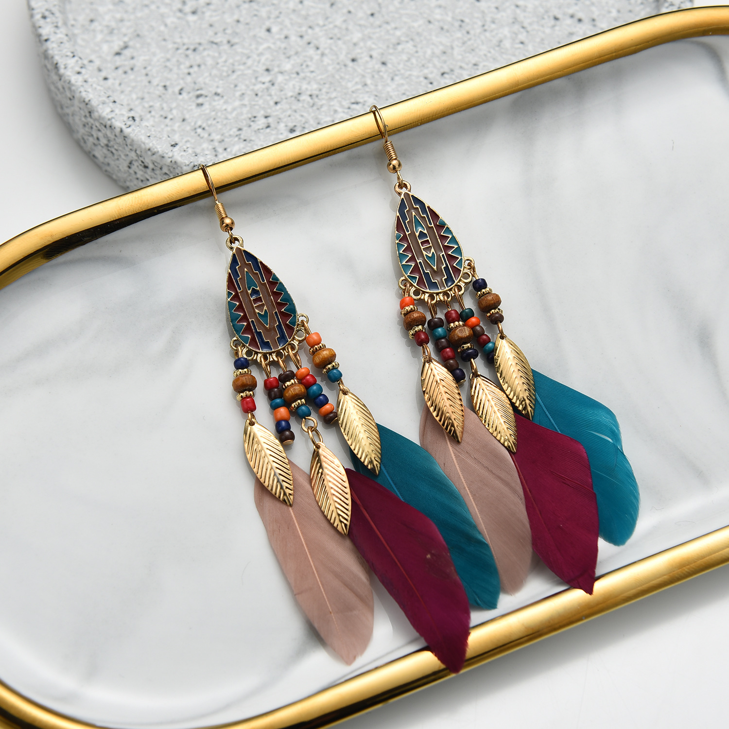 European and American explosive fashion earrings, drop line feather earrings jewelry, retro ethnic s
