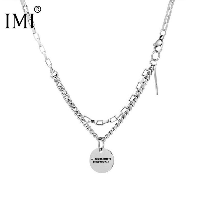 IMI trendy personality stitching double-layer titanium steel round brand necklace hip hop retro cold