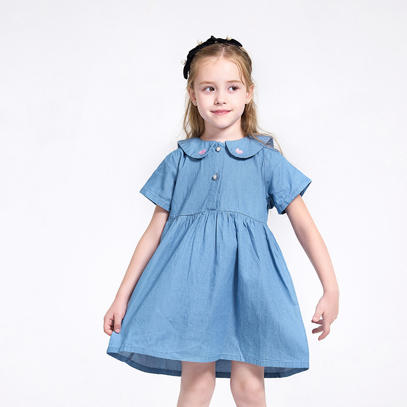 2021 summer new girls short-sleeved denim dress cartoon style collar love children's skirt brand ch