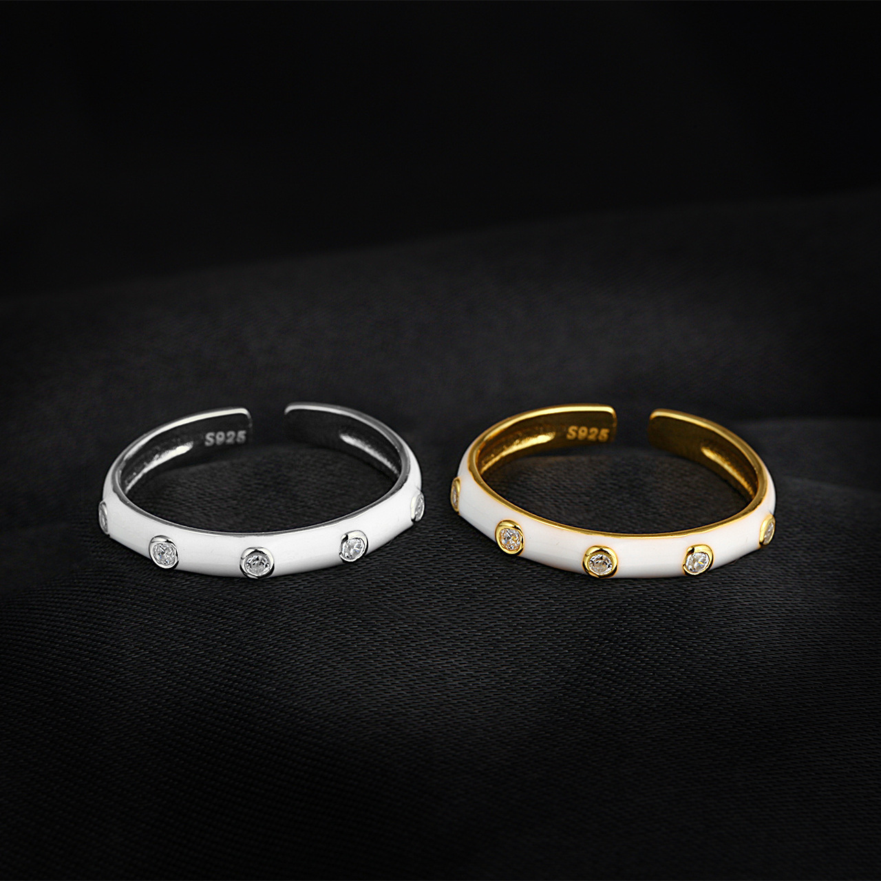 ins cold wind European and American niche personality design Epoxy ring hip-hop fashion wild cross-b