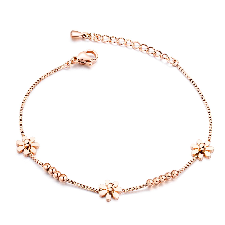 OPK Korean Fashion Accessories Titanium Steel Plated Rose Gold Small Daisy Bracelet Women