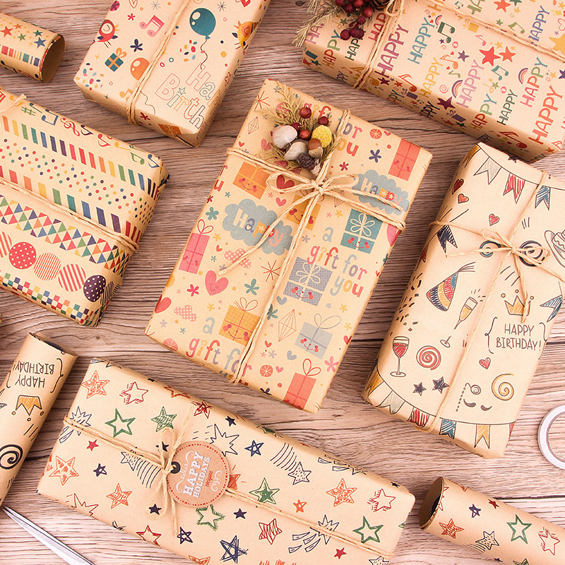 Musical note kraft paper Valentine's Day birthday gift wrapping Holiday gift wrapping paper diy sui