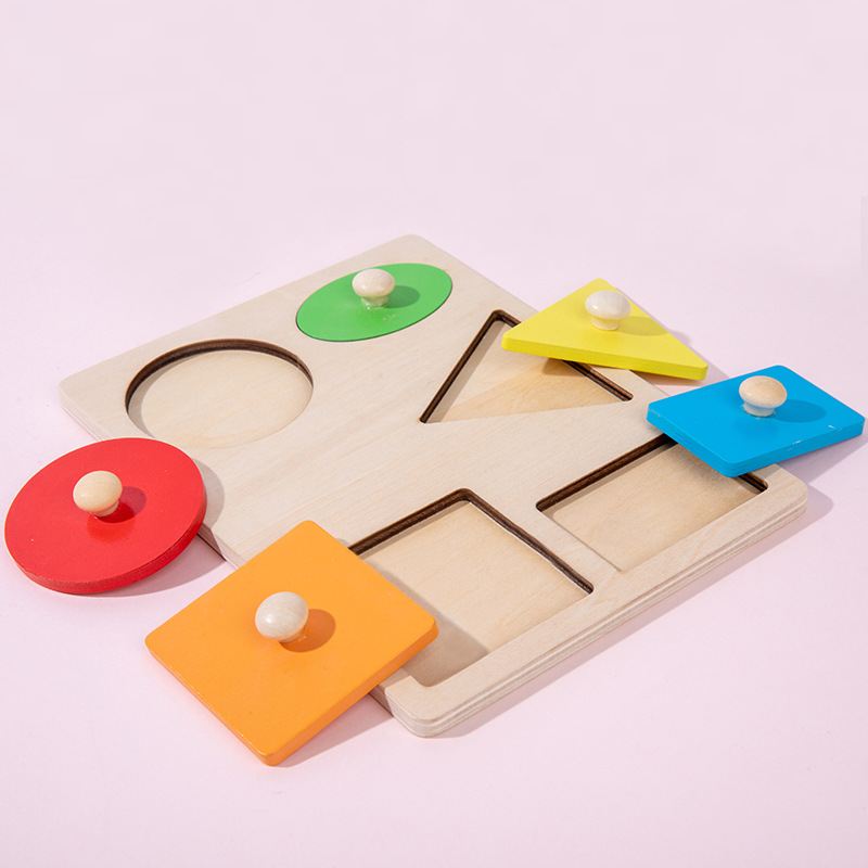 Geometric shape panel matching hand grasping board Montessori early childhood education children's
