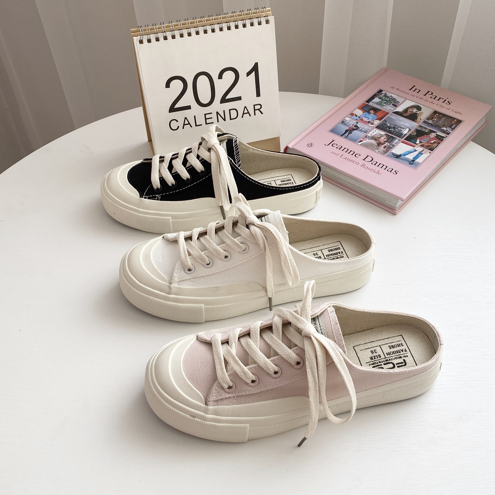 2021 new half-drag canvas shoes female spring and summer breathable stepping student shoes Korean Ha