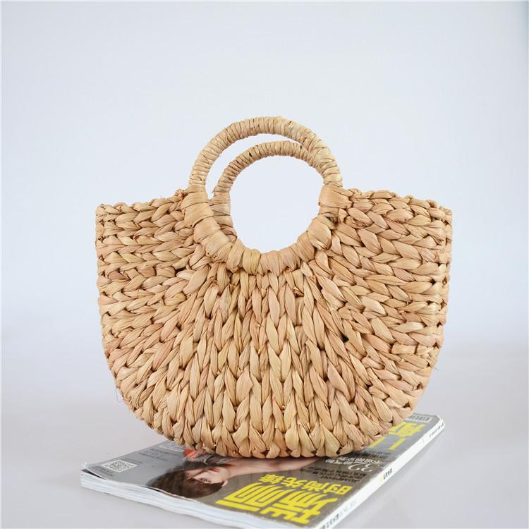 New moon bag fresh hand-woven bag semi-circular portable straw bag beach bag