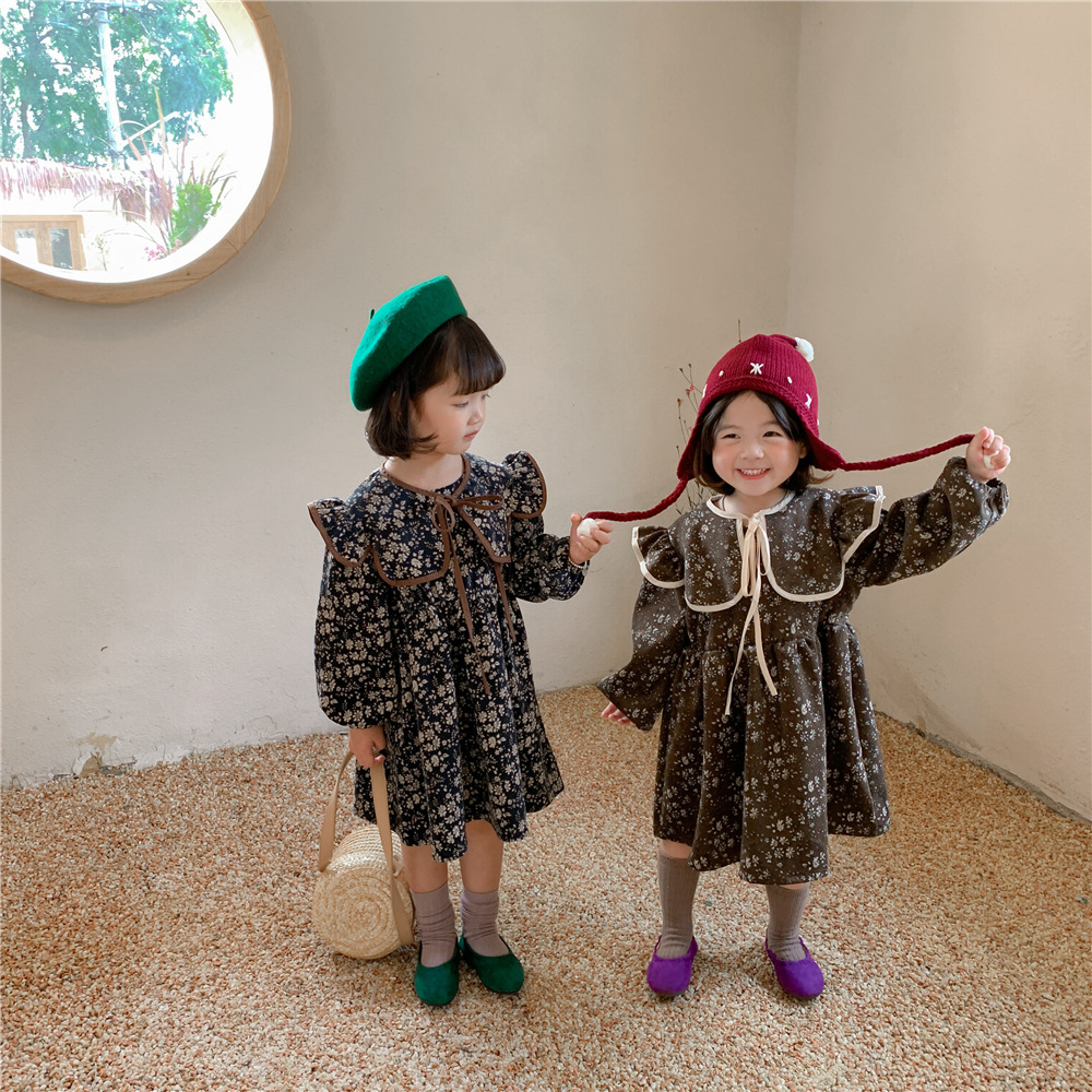 Girls' dresses for fall/winter 2021 new Korean version of retro baby western-style floral dress chi