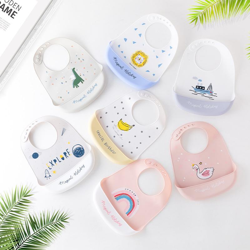 Baby silicone bibs, baby eating bibs, children's waterproof saliva pockets, newborn meal pockets, d