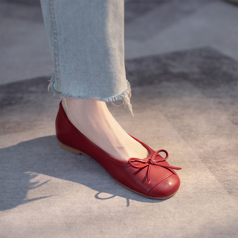 Retro all-leather grandma shoes 2021 early autumn new low-heeled flat low ballet single shoes bow sm