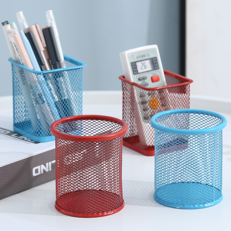 Wrought iron color round grid metal square hollow pen holder student stationery desktop office suppl