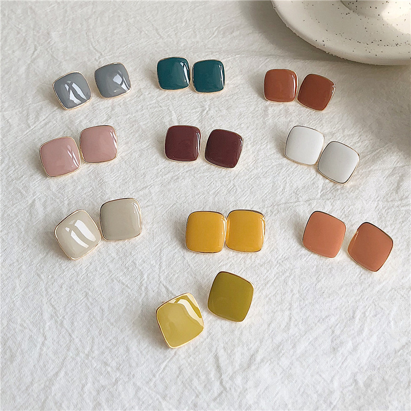 925 silver needle square simple color earrings ladies summer cool retro Korean fashion earrings wome