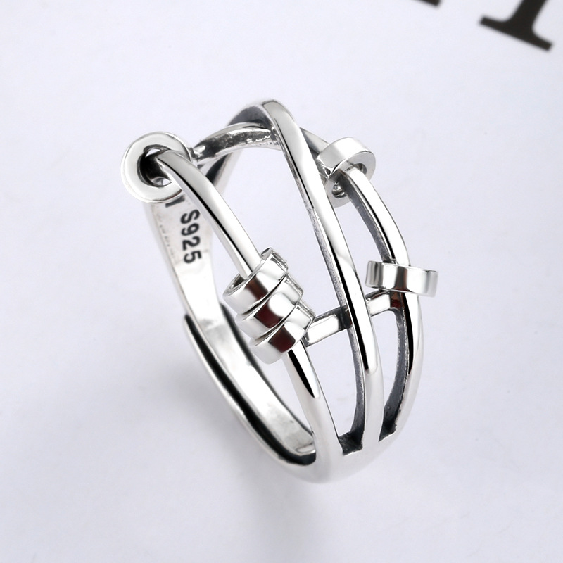 Ring s925 sterling silver fashion temperament female three-ring smart index finger ring transfer mul