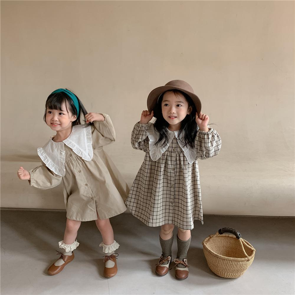 2021 autumn Korean version of the new children's skirt cotton and linen lace lapel plaid skirt thin
