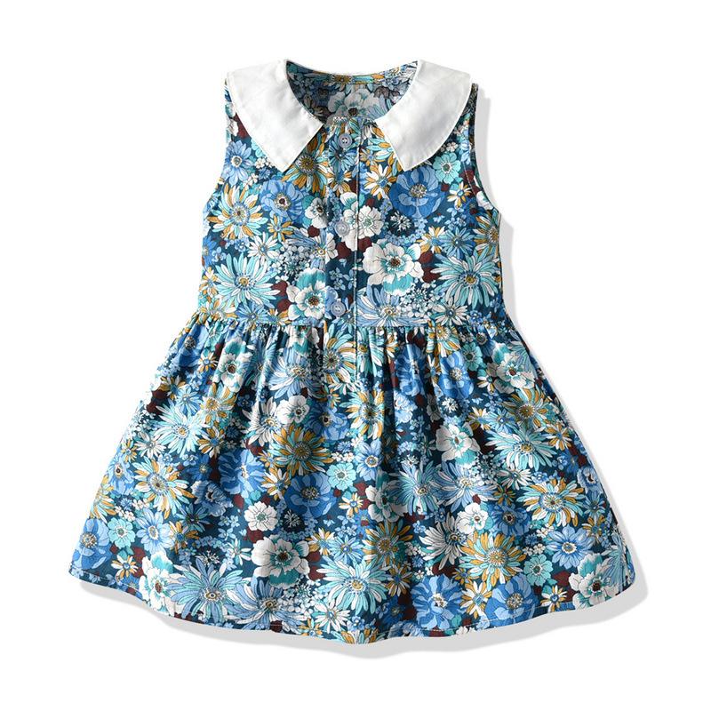 Tem Doger Summer girls cute sleeveless pastoral princess dress girls' skirt