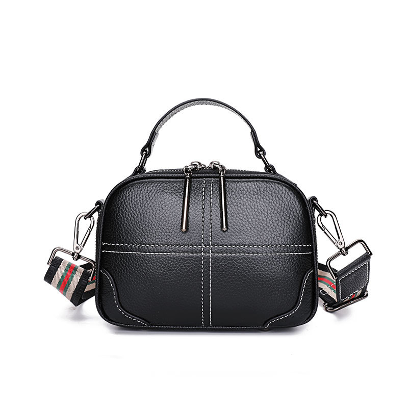 Korean version of 2021 new leather handbags fashion all-match first layer cowhide small square bag s