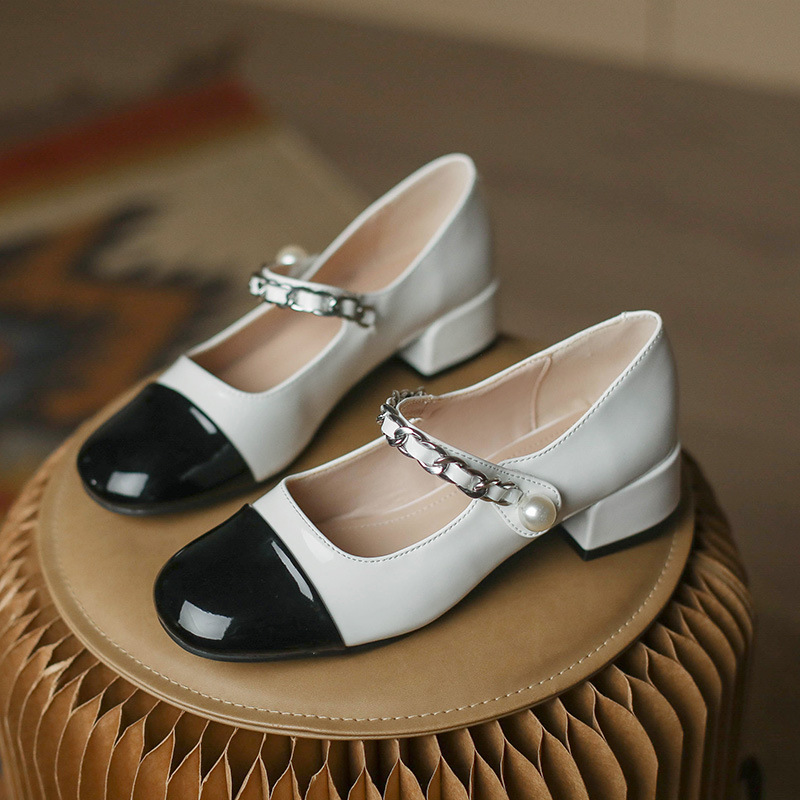 Mary Jane small leather shoes women's French retro color matching four seasons thick-heeled princes