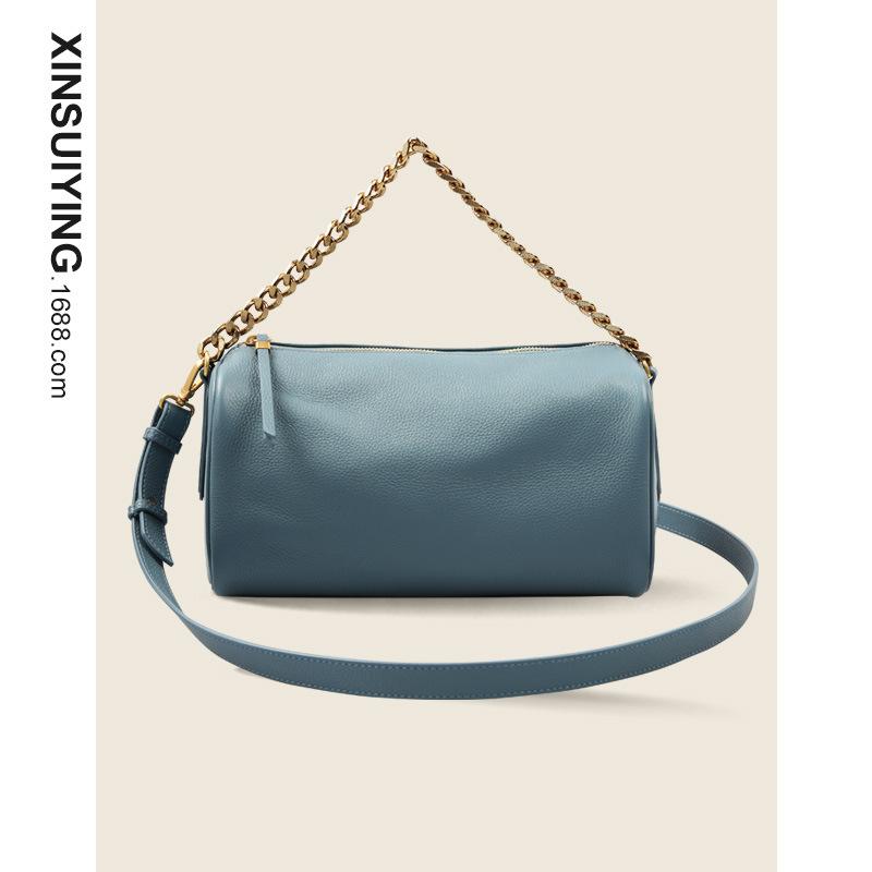 Simple style top layer cowhide chain handbag cylindrical large-capacity ladies shoulder bag cowhide