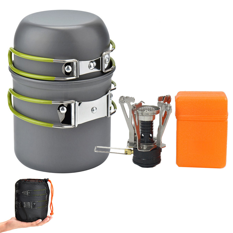 GL Camping Cookware Set Package Outdoor Portable Picnic Stove Cookware Equipment