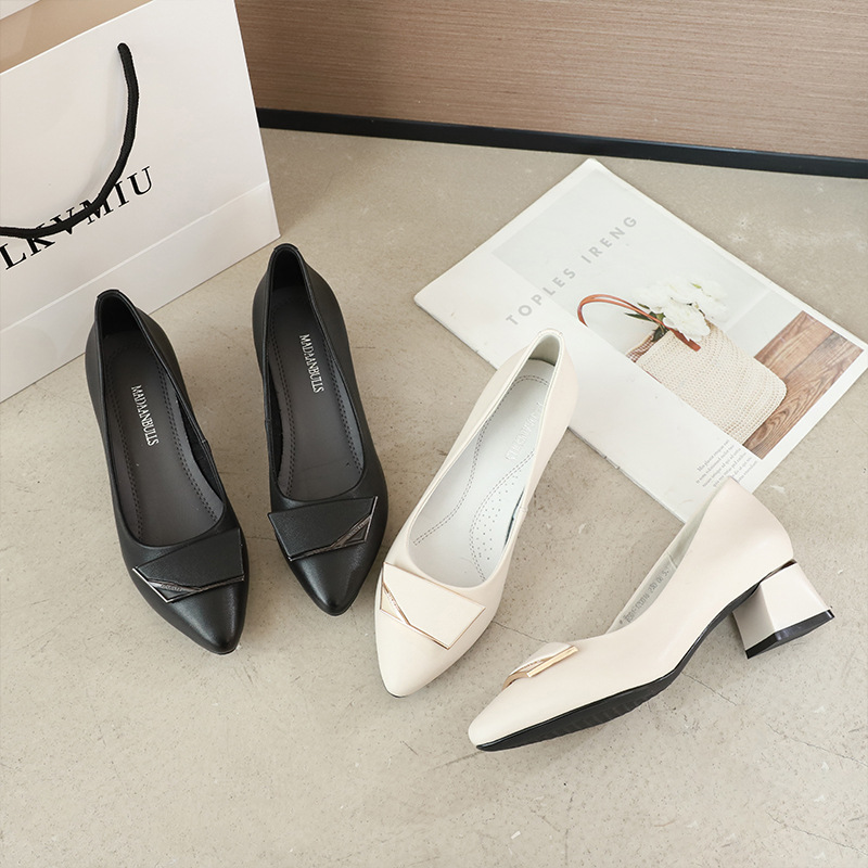 Top layer cowhide fashion women's heel shoes 2021 spring new low-top leather women's shoes solid c
