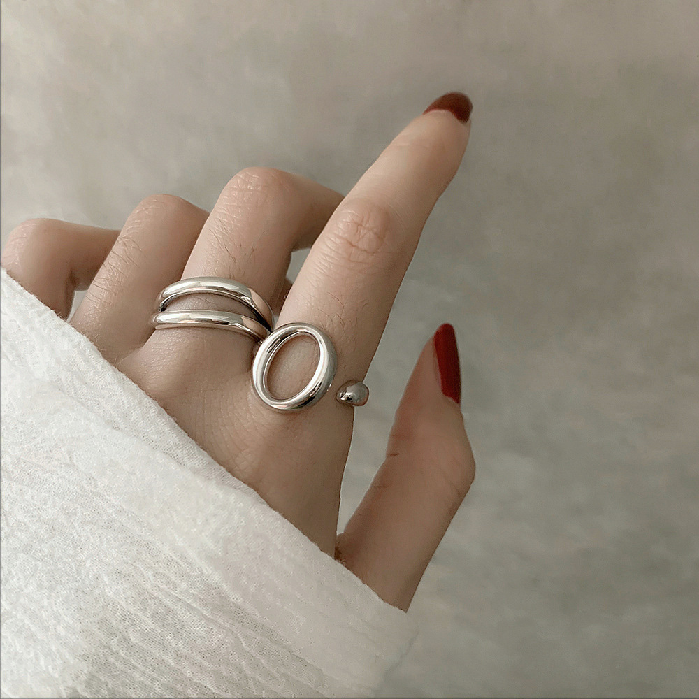 Retro fashion European and American open ring female 925 sterling silver Japanese Korean students si