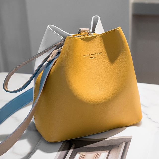 2021 summer new bucket bag female temperament fashion Korean version ins hit color one-shoulder casu