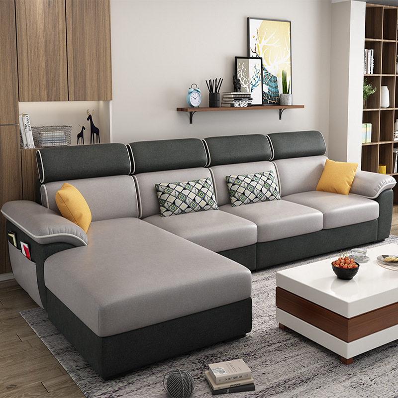 Modern minimalist technology fabric sofa removable and washable small apartment corner living room f