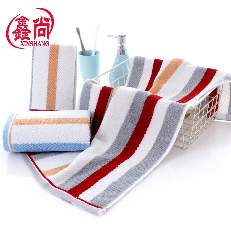 Cotton 32-strand Yarn-dyed Jacquard Gift Towel Adult Vertical Stripe Face Towel