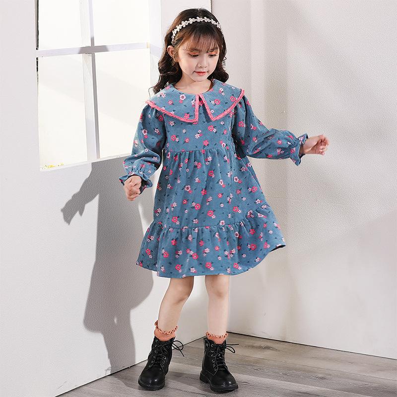 Children's clothing Korean girl dress 2021 autumn new children's floral dress lotus leaf collar ba