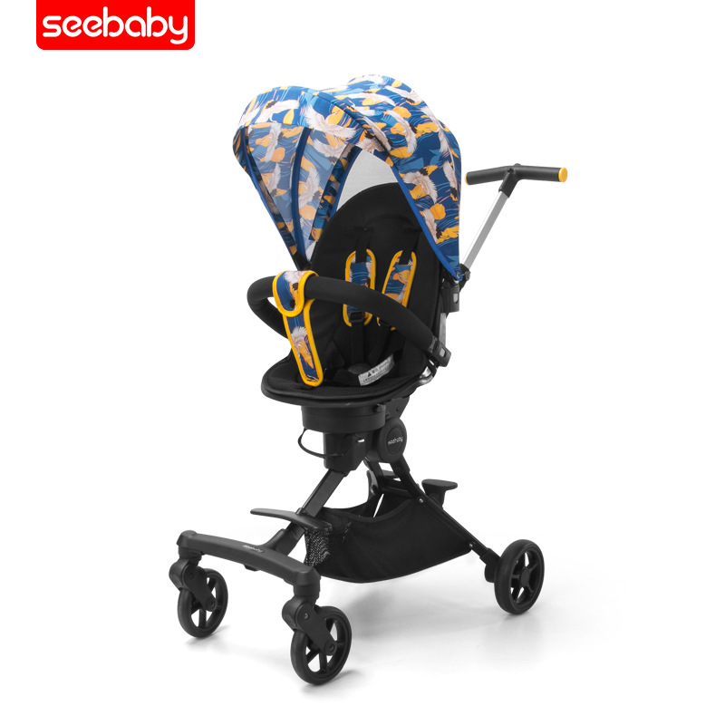 Seebaby Shengdebei walking baby artifact one-key collection of baby two-way high landscape stroller