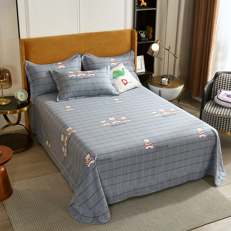 Thickened pure cotton brushed sheets, full cotton quilt cover, single-piece autumn and winter thicke