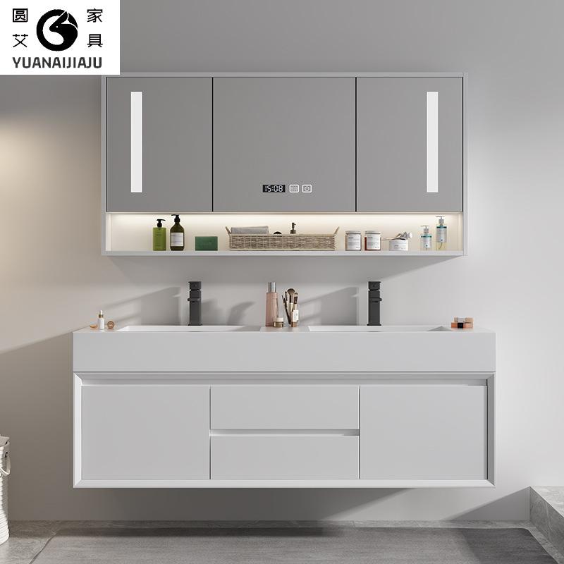 Nordic solid wood bathroom cabinet wall-mounted oak light luxury rock board bathroom cabinet vanity
