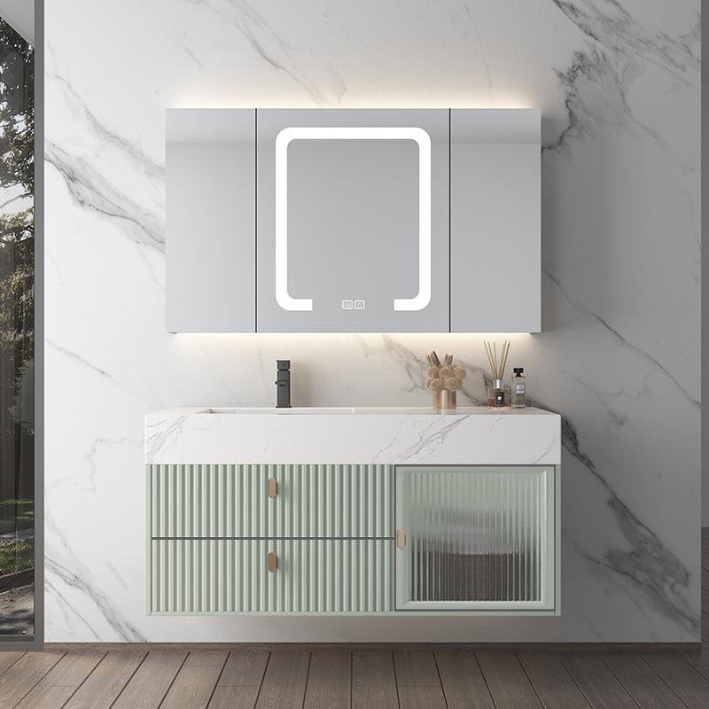 Net red light luxury smart rock board integrated basin bathroom cabinet combination Nordic solid woo