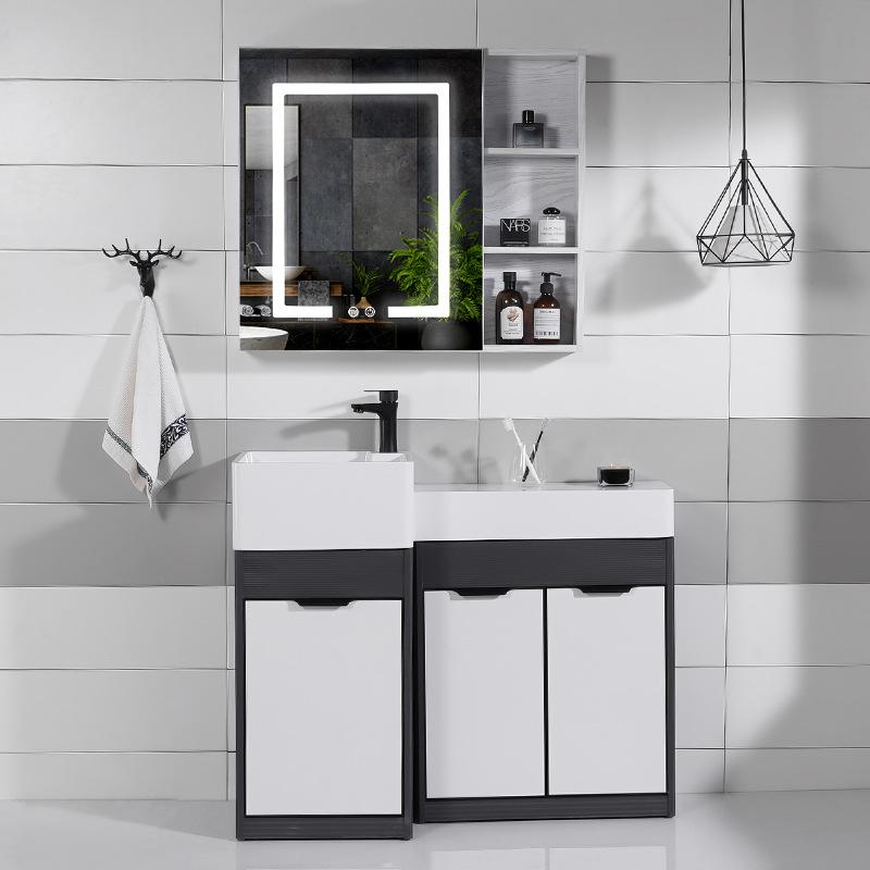 Small apartment artificial stone integrated countertop stone sink mirror cabinet bathroom cabinet co
