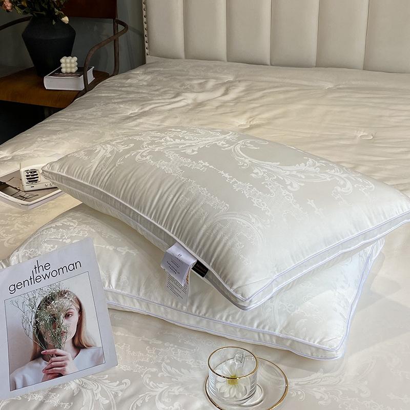 Light luxury 60 jacquard cotton soybean fiber pillow core five-star hotel cotton pillow protect cerv
