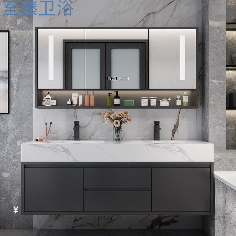 Modern simple double basin bathroom cabinet combination rock board vanity bathroom set bathroom wash