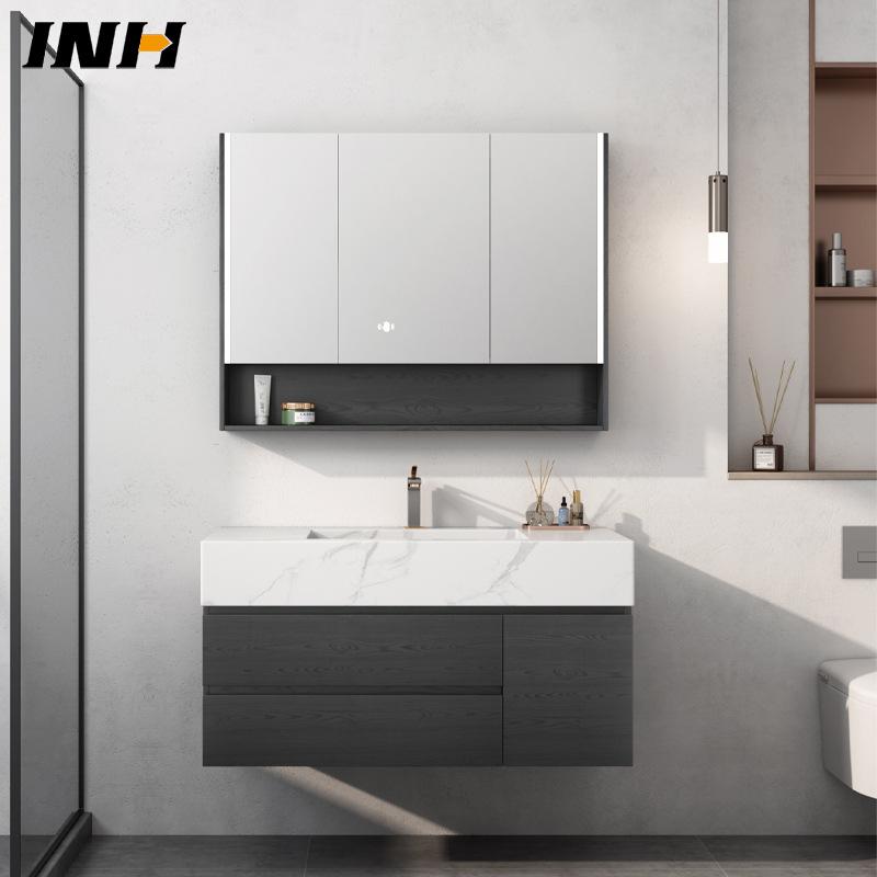 German INH modern minimalist solid wood bathroom cabinet combination rock board integrated basin was