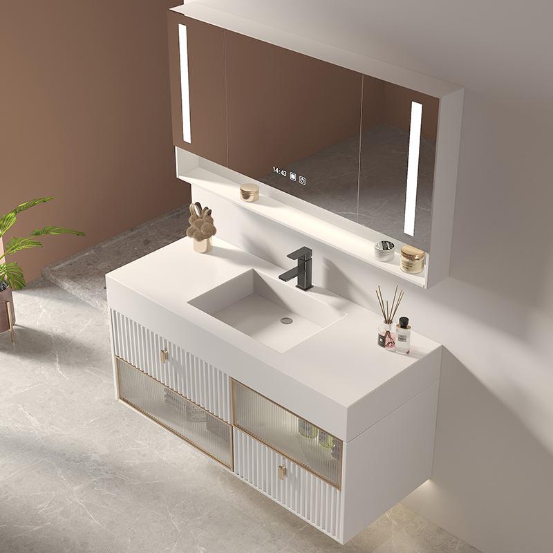 Nordic modern light luxury rock board one basin bathroom cabinet oak hand wash basin cabinet combina